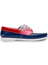 Prada Colour Block Boat Shoes Blue