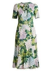 Dolce And Gabbana Hydrangea Print Fluted Hem Cady Dress Green Print