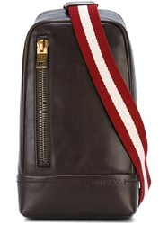 Bally Striped Strap Crossover Backpack Brown