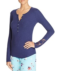 Pj Salvage Rib Long Sleeve Henley Top Navy