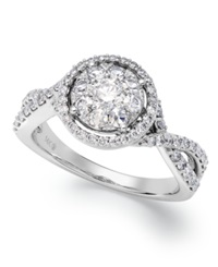 Prestige Unity Twisted Band Diamond Engagement Ring In 14K White Gold 1 Ct. T.W.