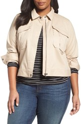 Sejour Plus Size Women's Crop Utility Jacket Tan Oxford