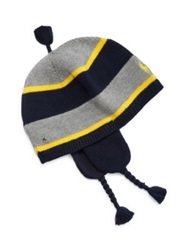 Ralph Lauren Baby's Striped Earflap Hat Hunter Navy