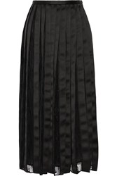 Adam By Adam Lippes Satin And Chantilly Lace Midi Skirt Black