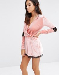 Love And Other Things Velvet Playsuit With Wrap Front Lace Trim Pink