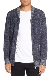 Michael Stars Men's Two Way Zip Melange Sweater Navy Light Grey