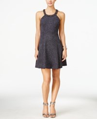 Betsy And Adam Embellished Chiffon Dress Steel Gun