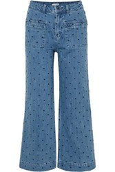 Ulla Johnson Niko Embroidered Polka Dot High Rise Flared Jeans Mid Denim