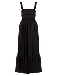 Chloe Tie Back Linen Dress Black