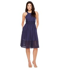 Vince Camuto Cotton Eyelet Sleeveless Fit And Flare Midi Dress Navy Women's Dress