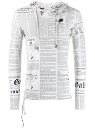 John Galliano Vintage Printed Slim Hoodie White
