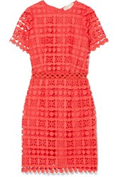 Michael Michael Kors Ruffled Corded Lace And Crepe De Chine Dress Pink