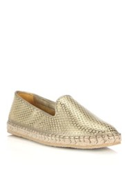 Cole Haan Rielle Perforated Metallic Espadrille Flats Silver Gold