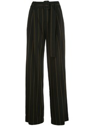 Vince High Waisted Striped Print Trousers Black