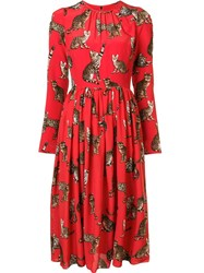 Dolce And Gabbana Cat Print Dress Red