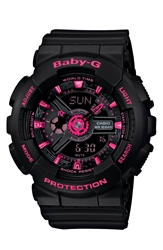 Baby G Round Ana Digi Watch 43Mm Black Pink