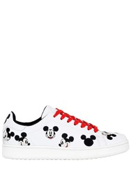 Moa Master Of Arts Mickey Embroidered Leather Sneakers