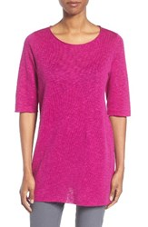 Eileen Fisher Women's Organic Linen And Cotton Slub Tee Cerise