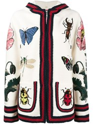 Gucci Embroidered Hooded Cardigan Silk Cotton Polyamide Wool M