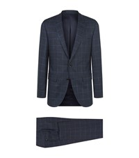 Boss Windowpane Checked Suit Male Navy