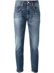 People Cropped High Rise Jeans Blue