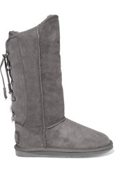 Australia Luxe Collective Dita Tall Lace Up Shearling Knee Boots Gray