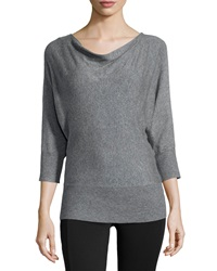 Neiman Marcus Drape Neck Knit Sweater Heather Ash
