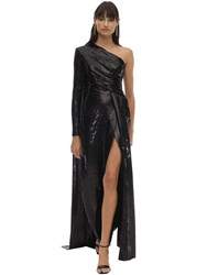 Elie Saab Long Sequined One Shoulder Dress Black