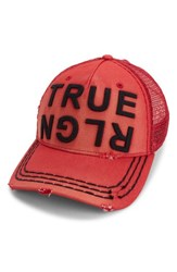 True Religion Men's Brand Jeans Denim Trucker Hat Red True Red