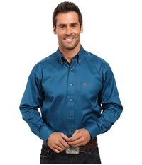 Ariat Solid Twill Shirt Moroccan Blue Men's Long Sleeve Button Up