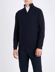 Ralph Lauren Purple Label Stand Collar Wool And Cashmere Blend Sweatshirt Classic Chairman Navy