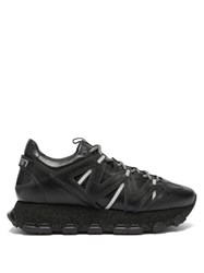 Lanvin Lightening Panelled Leather Trainers Black