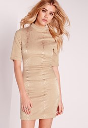 Missguided High Neck Croc Shimmer Bodycon Dress Gold Gold