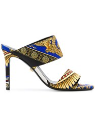 Versace Baroque Print Mules Blue