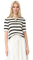 Novis Crochet Stripe Top Black White