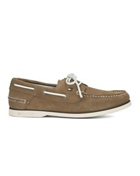 Tommy Hilfiger Taupe Suede Knot Boat Shoes Beige