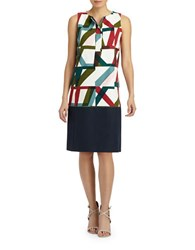 Lafayette 148 New York Abstract Geo Print Shift Dress Cloud Multi