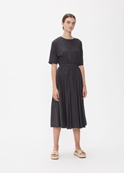 Black Crane 'S Pleated Dress In Faded Size Xs Rayon Cotton Faded Black