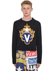 Versace Intarsia Crewneck Cotton Sweater Navy