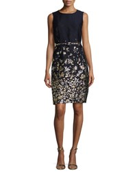 Oscar De La Renta Floral Embroidered Sleeveless Sheath Dress Navy Gold