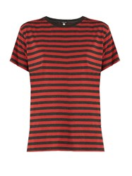 R 13 Striped Boyfriend Fit Cotton T Shirt Red Multi
