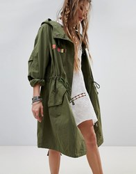 Native Rose Oversized Parka Jacket With Tapestry Tassel Back Panel Green