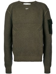 Off White Ribbed 'Off' Sweater Men Cotton Wool M Green