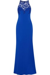 Badgley Mischka Corded Lace Paneled Cady Gown Royal Blue