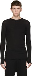 Isabel Benenato Black Ribbed Pullover