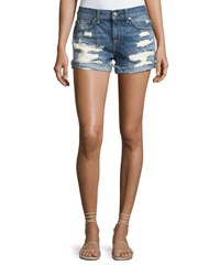 7 For All Mankind Raw Cuffed Shorts W Aggressive Destroy Indigo