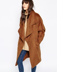 Paisie Wool Oversized Coat With Leather Belt Tan