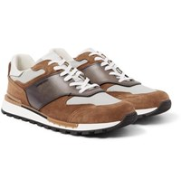Berluti Fast Lane Leather Suede And Nylon Sneakers Brown