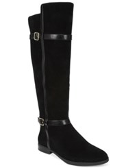 Inc International Concepts Ameliee Suede Riding Boots Only At Macy's Women's Shoes Black