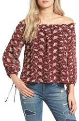 Astr Women's Embroidered Off The Shoulder Blouse